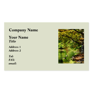 Geese by Pond In Autumn Double-Sided Standard Business Cards (Pack Of 100)