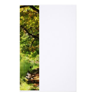 Geese by Pond In Autumn Stationery