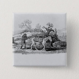 Geese carried to market pinback button