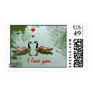Geese Couple in Love; 'I Love You' with Hearts Postage Stamps