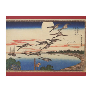 Geese descending over a bay    Japan Wood Wall Art