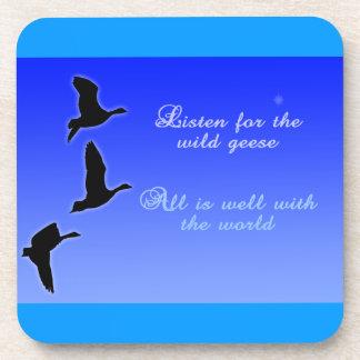 Geese Fly Across The Sky - Listen Birds Coasters