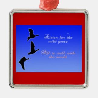 Geese Fly Across The Sky - Listen Birds Christmas Ornament