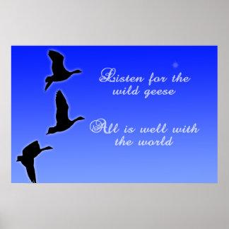 Geese Fly Across The Sky - Listen Birds Poster