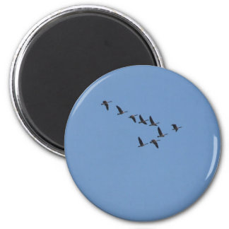 Geese flying 2 inch round magnet