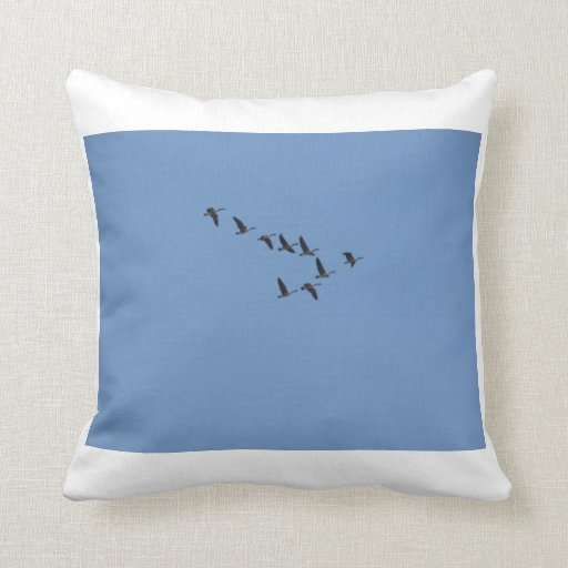 Geese Flying and Goose Grooming Pillow