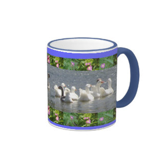 geese in the water with floral border ringer coffee mug