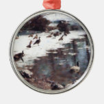 Geese on an Icy Pond Christmas Ornament