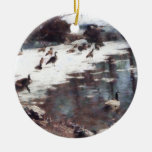 Geese on an Icy Pond Ornaments