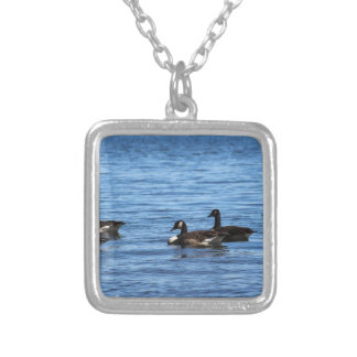 Geese on Lake Silver Plated Necklace