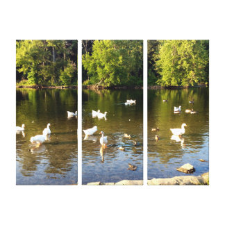 Geese on the River 3 Panel Canvas Print