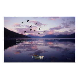 Geese Over Glacier Lake at Sunset Poster
