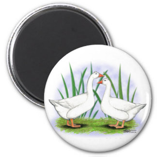 Geese:  Roman Tufted Pair 2 Inch Round Magnet