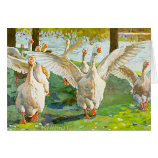 Geese Running Through The Green Park Greeting Card