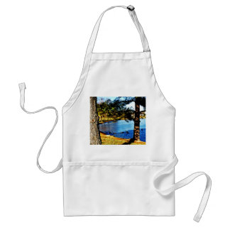 Geese swimming in half frozen lake - trees adult apron