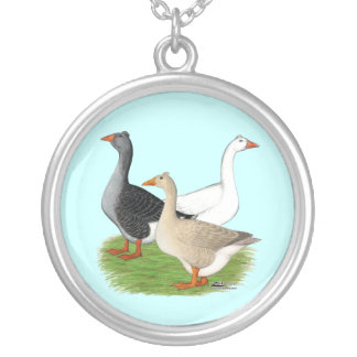 Geese:  Tufted Trio Silver Plated Necklace