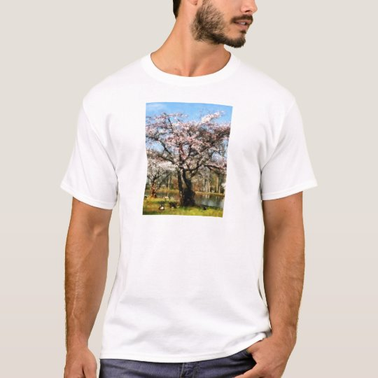 Geese Under Flowering Tree T-Shirt