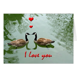 Geese with Red Hearts I Love You Greeting Card
