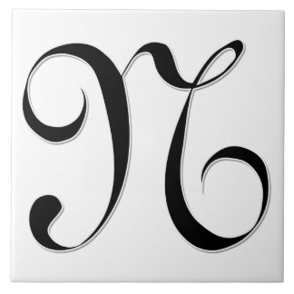 Geessele Letter N in Black Monogram Tile