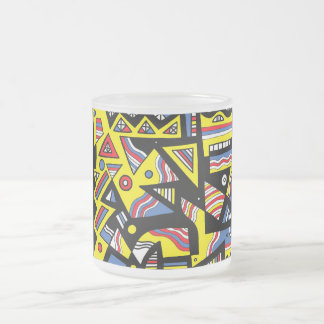 Geeting Abstract Expression Yellow Blue Black 10 Oz Frosted Glass Coffee Mug