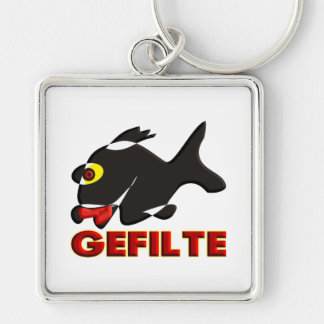 Gefilte Silver-Colored Square Keychain