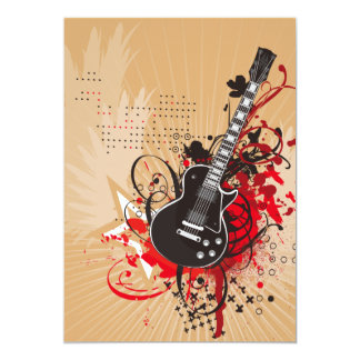 GEGV GRUNGE ELECTRIC GUITAR VECTOR GRAPHIC MUSIC R 5X7 PAPER INVITATION CARD