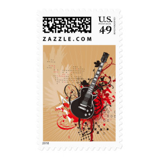 GEGV GRUNGE ELECTRIC GUITAR VECTOR GRAPHIC MUSIC R POSTAGE STAMPS