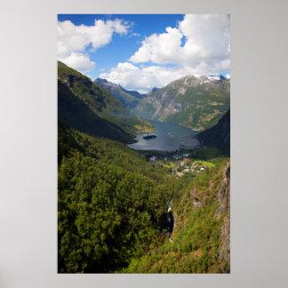 Geiranger Fjord landscape, Norway Poster