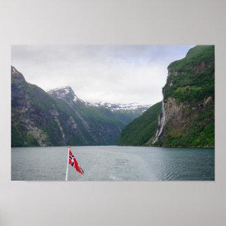 Geiranger fjord with Norwegian flag poster