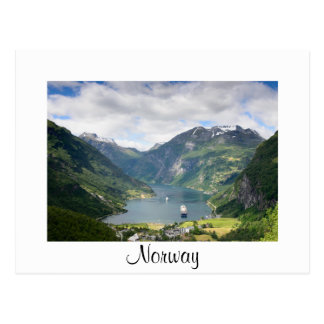 Geirangerfjord view in Norway white border card