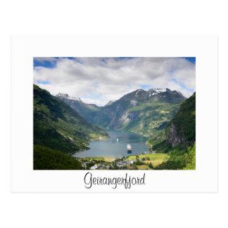 Geirangerfjord view white border card