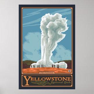 Géiser fiel viejo - parque nacional de Yellowstone Póster