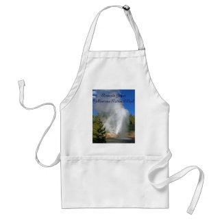 Géiser Yellowstone del arco iris con la cita famos Delantal