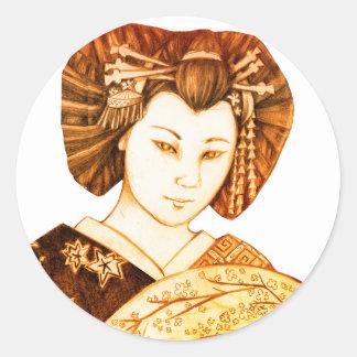 Geisha Abanico Pegatina Classic Round Sticker