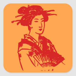 Geisha adaptable pegatina cuadrada
