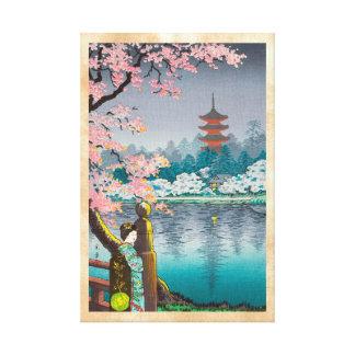 Geisha and Cherry Tree, Ueno Park japanese scenery Canvas Print