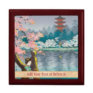 Geisha and Cherry Tree, Ueno Park japanese scenery Keepsake Box