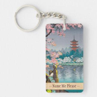 Geisha and Cherry Tree, Ueno Park japanese scenery Keychain