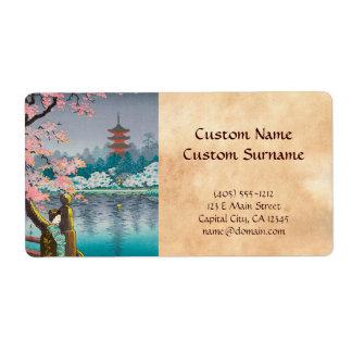 Geisha and Cherry Tree, Ueno Park japanese scenery Label