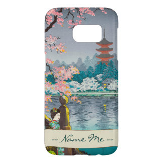 Geisha and Cherry Tree, Ueno Park japanese scenery Samsung Galaxy S7 Case