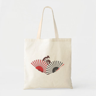 Geisha and fans tote bag