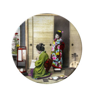 Geisha and her Meiko in Old Japan Vintage Porcelain Plate