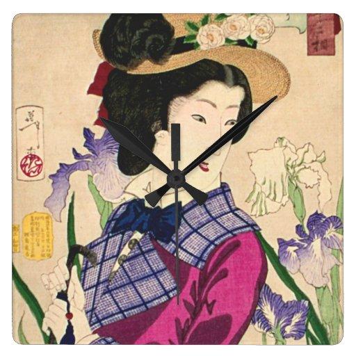 Geisha and Irises Japanese Woodblock Art Ukiyo-e Wallclock