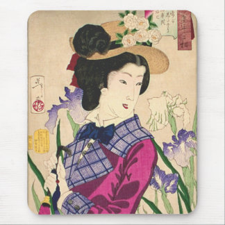 Geisha and Irises Japanese Woodblock Art Ukiyo-e Mouse Pad