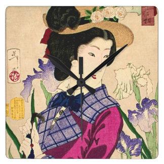 Geisha and Irises Japanese Woodblock Art Ukiyo-e Square Wall Clock
