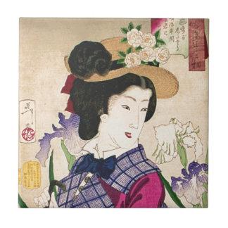 Geisha and Irises Japanese Woodblock Art Ukiyo-e Tile
