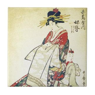 Geisha and Little One Ceramic Tile
