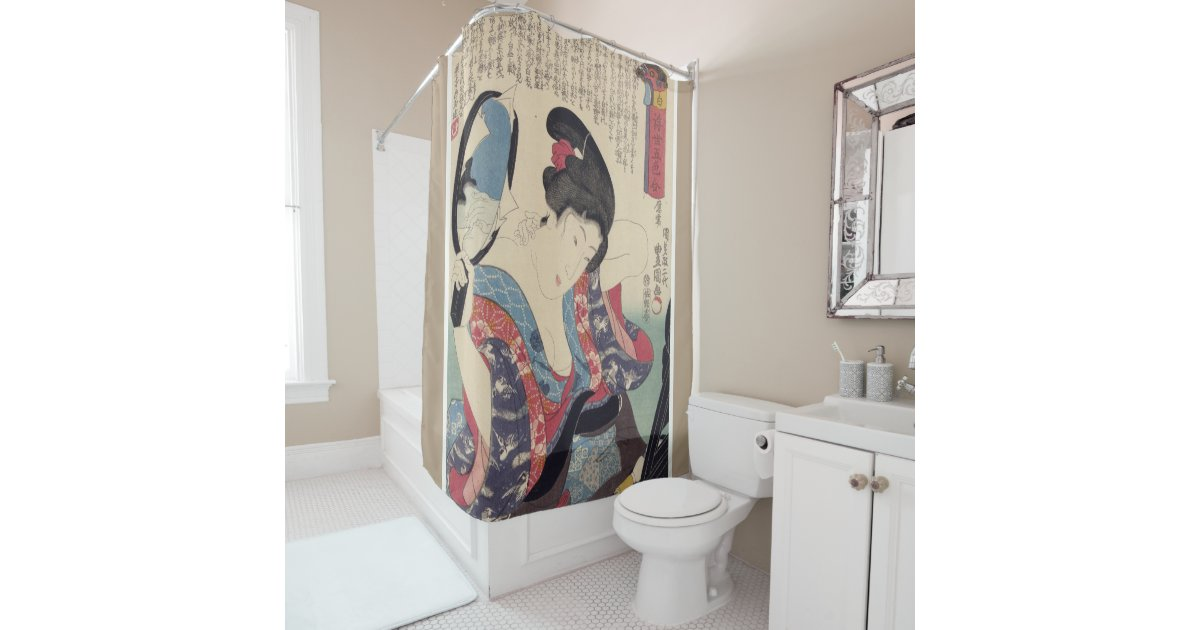 Geisha And Mirror Shower Curtain
