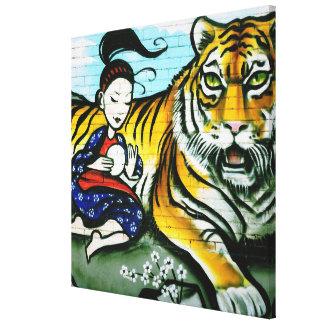 Geisha and Tiger urban graffiti Street art Canvas Print