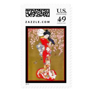 Geisha asiático de Japón del japonés del arte del Estampillas